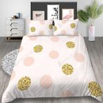 Sweet Pink Colored Dots Printed Bedding Set Bedroom Decor