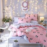 Pink Frenchie Pattern Printed Bedding Set Bedroom Decor