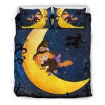 Halloween Cute Witch To The Moon Bedding Set Bedroom Decor