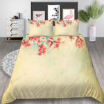 Peach Blossom Printed Bedding Set Bedroom Decor
