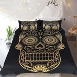 Dark Blue Mandala Golden Skull Bedding Set Bedroom Decor