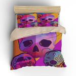 Sugar Skull Gift Purple Background Bedding Set Bedroom Decor