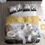 3D White Lion Wild Life Printed Bedding Set Bedroom Decor