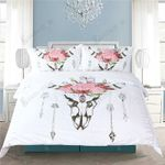 Floral Bull Headkull Printed Bedding Set Bedroom Decor