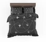 Travel The World By Plane Black Designed Bedding Set Bedroom Decor