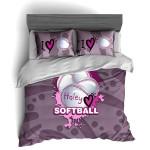 Haley Purple Love Softball Bedding Set Bedroom Decor