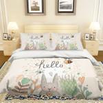 3d Cartoon Rabbit Flower Hello Bedding Set Bedroom Decor