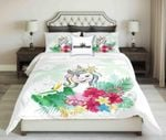Funny Unicorn On Tropical Printed Bedding Set Bedroom Decor