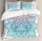 Bohemian Tattoo Style Zen Pastel Toned Mandala Abstract Lotus Flower Bedding Set Bedroom Decor
