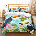 Aloha Summer Parrots And Tropical Leaf Bedding Set Bedroom Decor