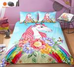 Unicorn Flowers Rainbow Printed Bedding Set Bedroom Decor