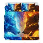 Wolf Fire And Ice Bedding Set Bedroom Decor
