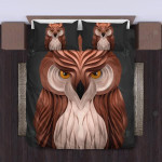 Owl Brown And Cream Art Bedding Set Bedroom Decor