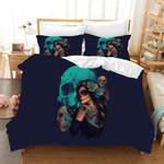 3d Black Floral Skull Bedding Set Bedroom Decor