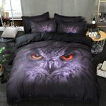 3D Owl Purple Eyes Black Sheets Printed Bedding Set Bedroom Decor