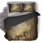 Unicorn In Forest Vintage Bedding Set Bedroom Decor