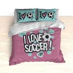 I Love Soccer Theme Heart Blue Bedding Set Bedroom Decor