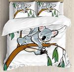 Mother Baby Koala Climbing Over Eucalyptus Tree Branch Bedding Set Bedroom Decor