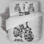 Biking Graphic Art Bedding Set Bedroom Decor