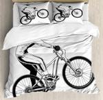 Extreme Bicycle Trick Themed Illustration Rider Monochrome Style Design Bedding Set Bedroom Decor
