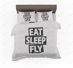 White Eat Sleep Fly Designed Bedding Set Bedroom Decor