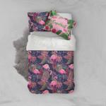 3d Flamingo Leaves Pink Bedding Set Bedroom Decor