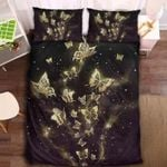 Golden Butterfly Collection Printed Bedding Set Bedroom Decor