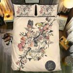 Skull And Pink Flower Printed Bedding Set Bedroom Decor