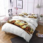 Retro Cool Gold Cars Printed Bedding Set Bedroom Decor