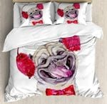 Dog With Furry Winter Headphones And A Bow Tie Cute Bedding Set Bedroom Decor