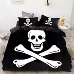 Black And White Skull Printed Bedding Set Bedroom Decor