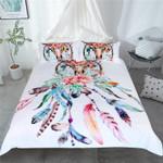 Colorful Floral Skull Dreamcatcher Printed Bedding Set Bedroom Decor