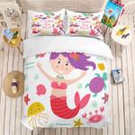3d Cartoon Mermaid Red Bedding Set Bedroom Decor