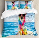 Dog In The Ocean Surfing Cool Bedding Set Bedroom Decor