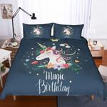 3d Dark Unicorn Floral Magic Birthday Bedding Set Bedroom Decor