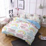 Rainbow Cloud Pattern 3D Bedding Set Bedroom Decor