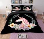 Unicorn Floral Circle Bedding Set Bedroom Decor