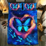 Fire Heart Shaped And Blue Butterfly Bedding Set Bedroom Decor