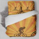 Biking Orange Background Bedding Set Bedroom Decor