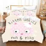 3d Cutie Pink Cat Fun And Play Bedding Set Bedroom Decor