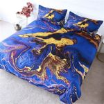 Gold And Blue Marble Printed Bedding Set Bedroom Decor