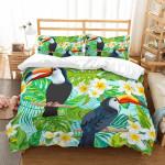 Flowers And Parrots Green Leaf Bedding Set Bedroom Decor