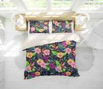 3d Black Pink Yellow Floral Bedding Set Bedroom Decor