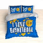 I Love Basketball Blue Bedding Set Bedroom Decor
