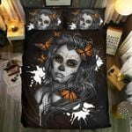 Skull Lady And Butterfly Printed Bedding Set Bedroom Decor