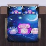 Owl Family At Night Cute Bedding Set Bedroom Decor