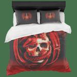 Red Dragon Skulls Printed Bedding Set Bedroom Decor