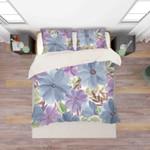 3d Blue Purple Floral Bedding Set Bedroom Decor