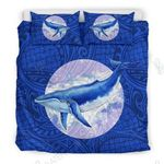Blue Whale With Polynesian Ethnic Style Bedding Set Bedroom Decor