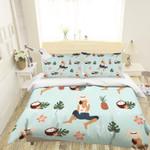 3d Cartoon Pineapple Coconut Bedding Set Bedroom Decor